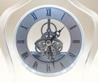 Lead Crystal Glass Skeleton Desk Mantel Clock - Engraved FREE